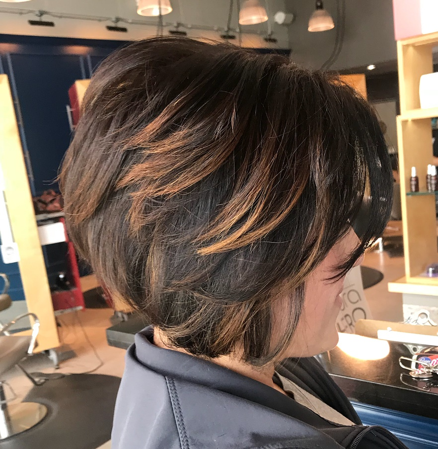 Short Choppy Bob with Chunky Highlights