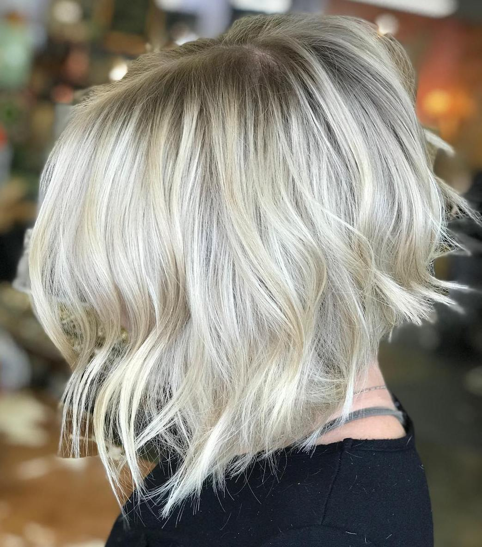 Choppy Silver Blonde Bob Cut