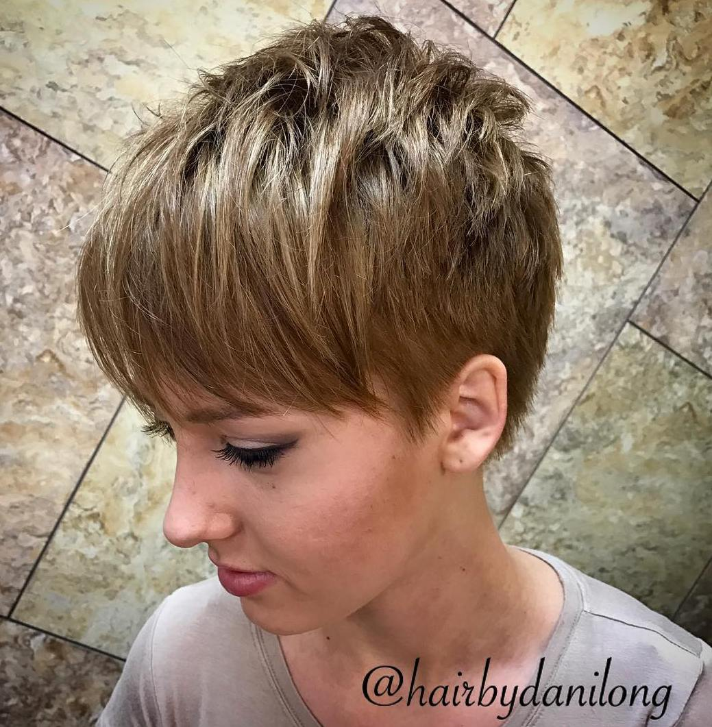 Dark Blonde Pixie with Bangs