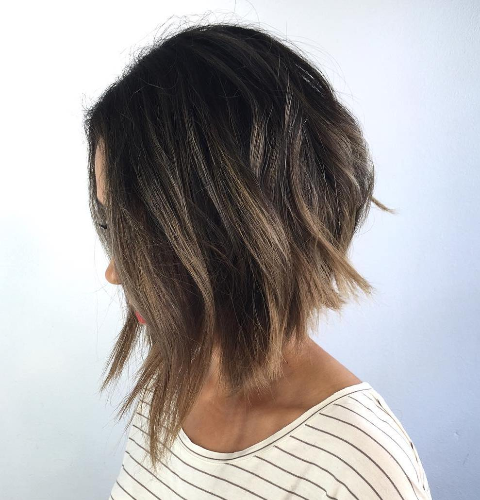 Choppy Inverted Bob with Blonde Highlights