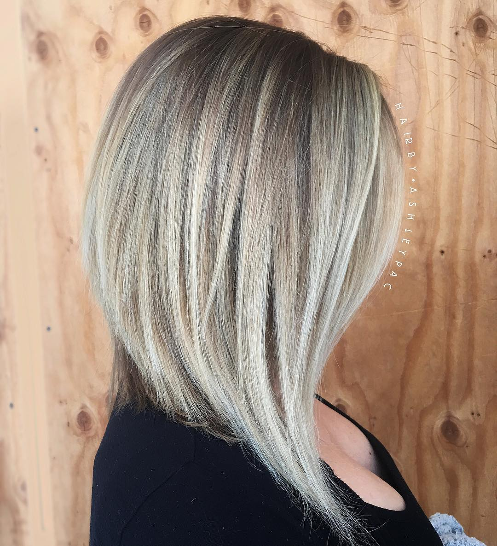 Trendy Long Ash Blonde Bob