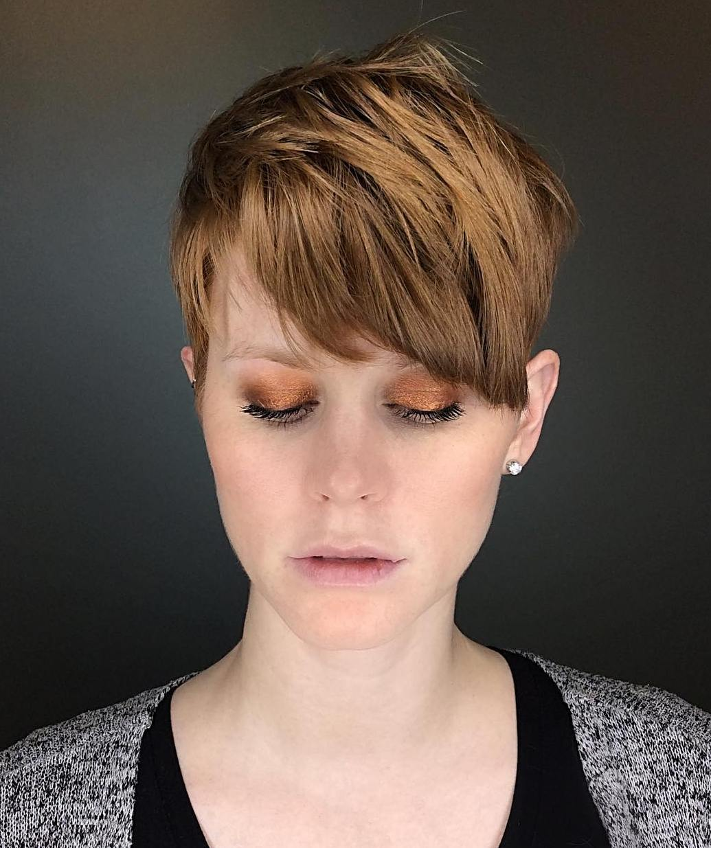 High-Shine Textured Pixie with Bangs