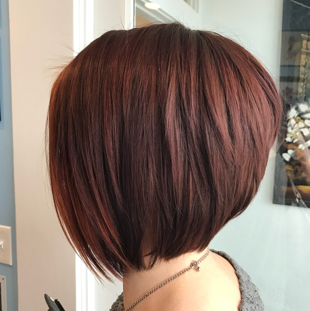 Red Stacked Bob with Layers