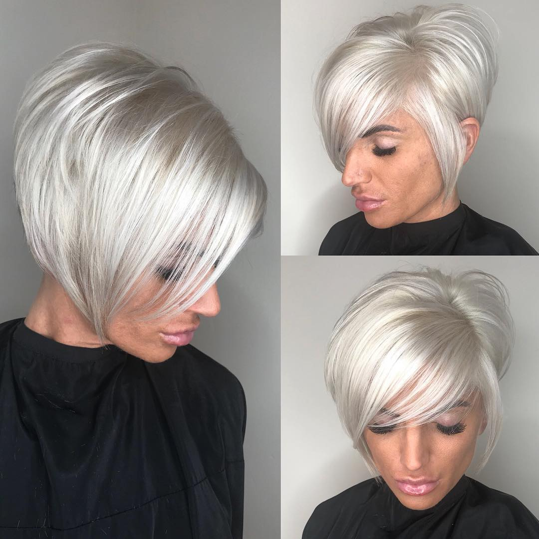 Short Stacked Silver Pixie Cut