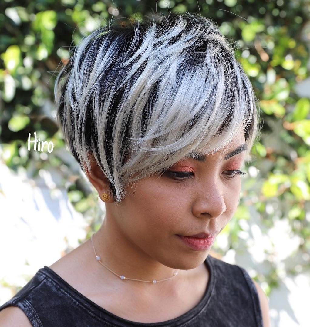 Pixie with Platinum Balayage and Dark Roots