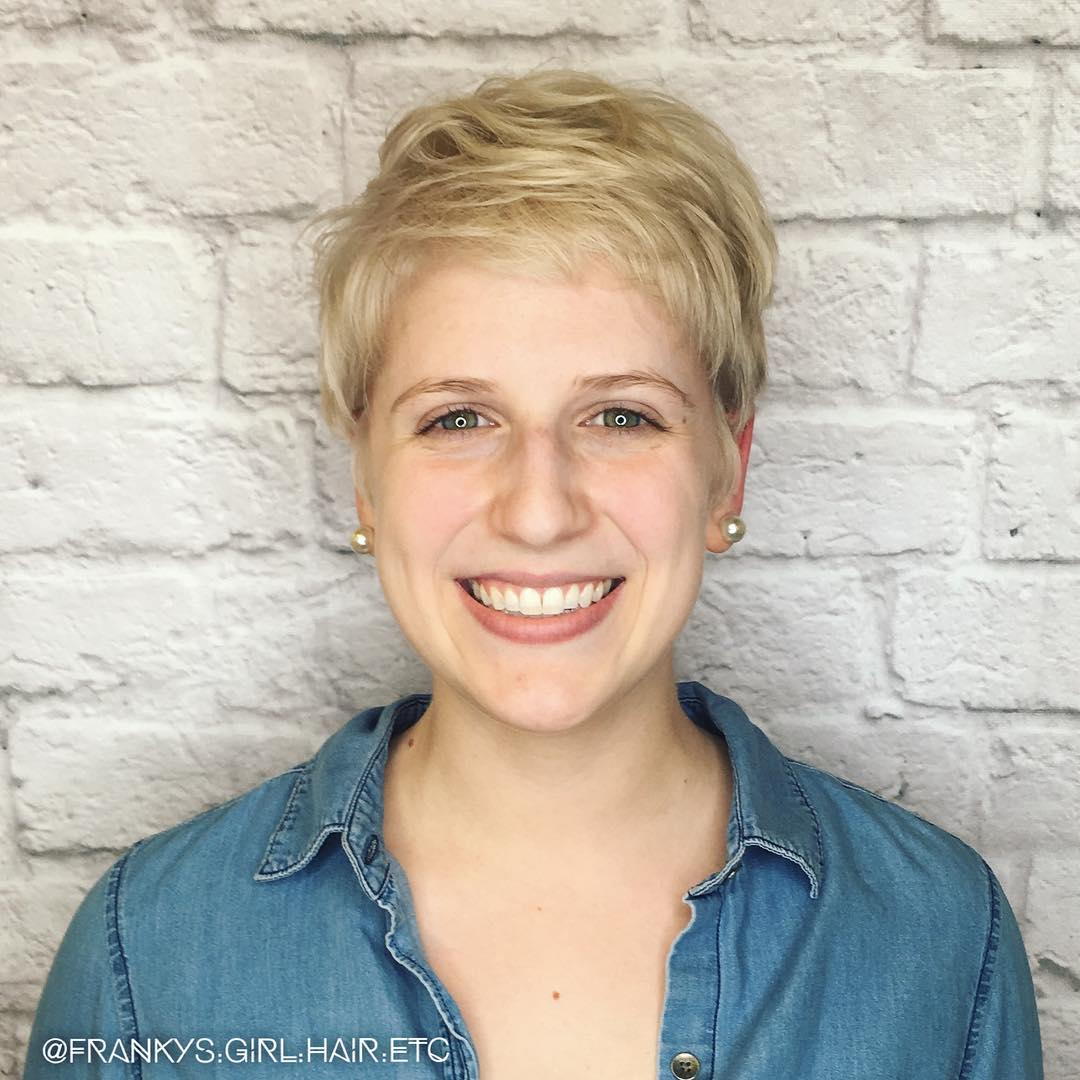 Short Blonde Pixie with Waves