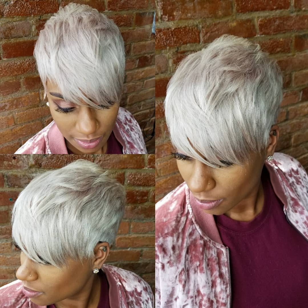 Dramatic Choppy Platinum Pixie
