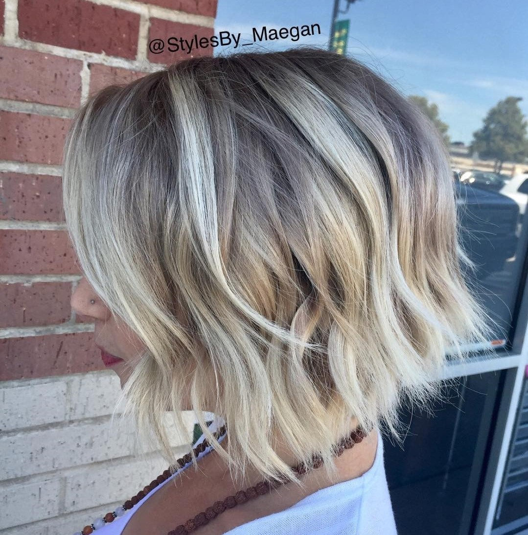 Razored Blonde Bob with Shadow Roots