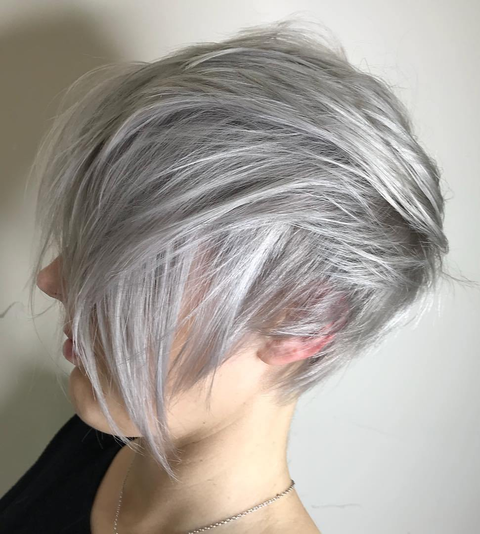 Edgy Long Gray Pixie for Straight Hair