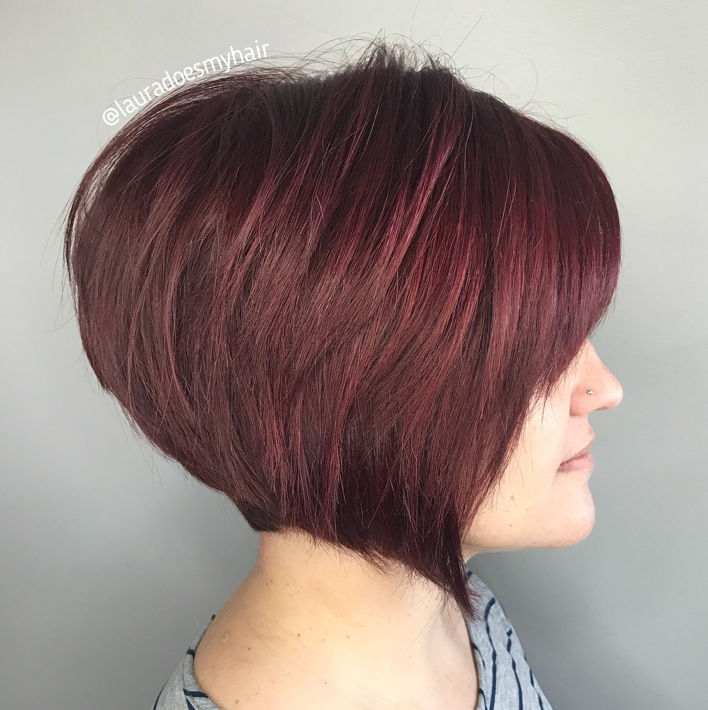 Wine Red Geometric Bob