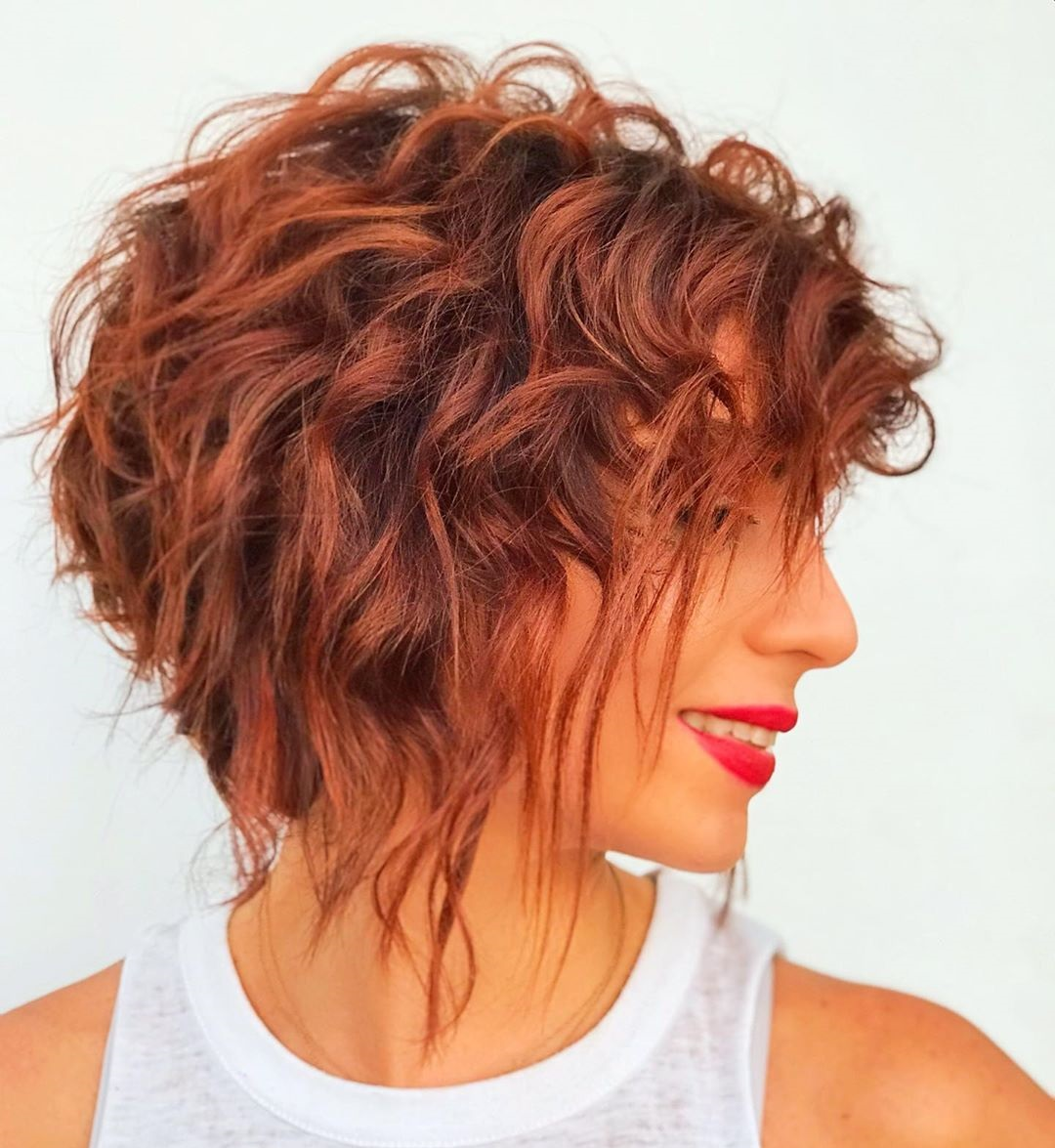 Red Inverted Bob with Waves