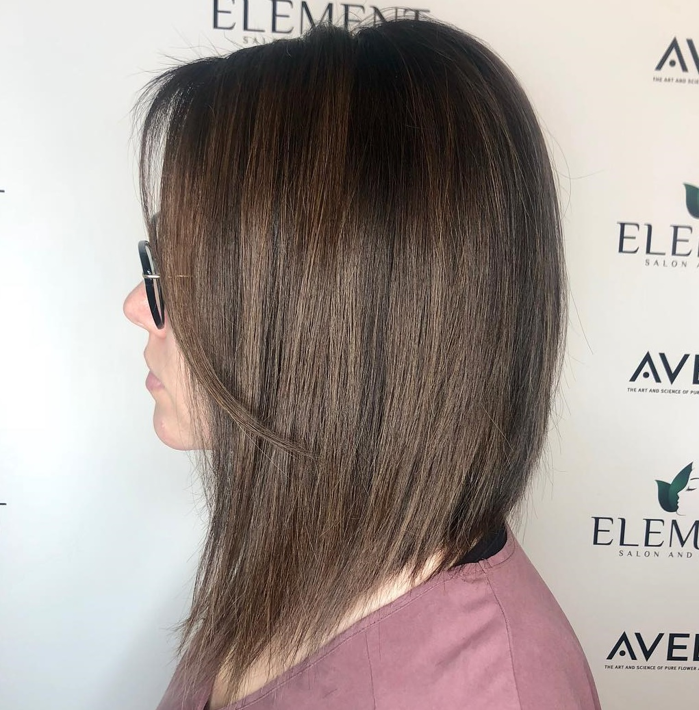 Layered A-line Lob for Thin Hair