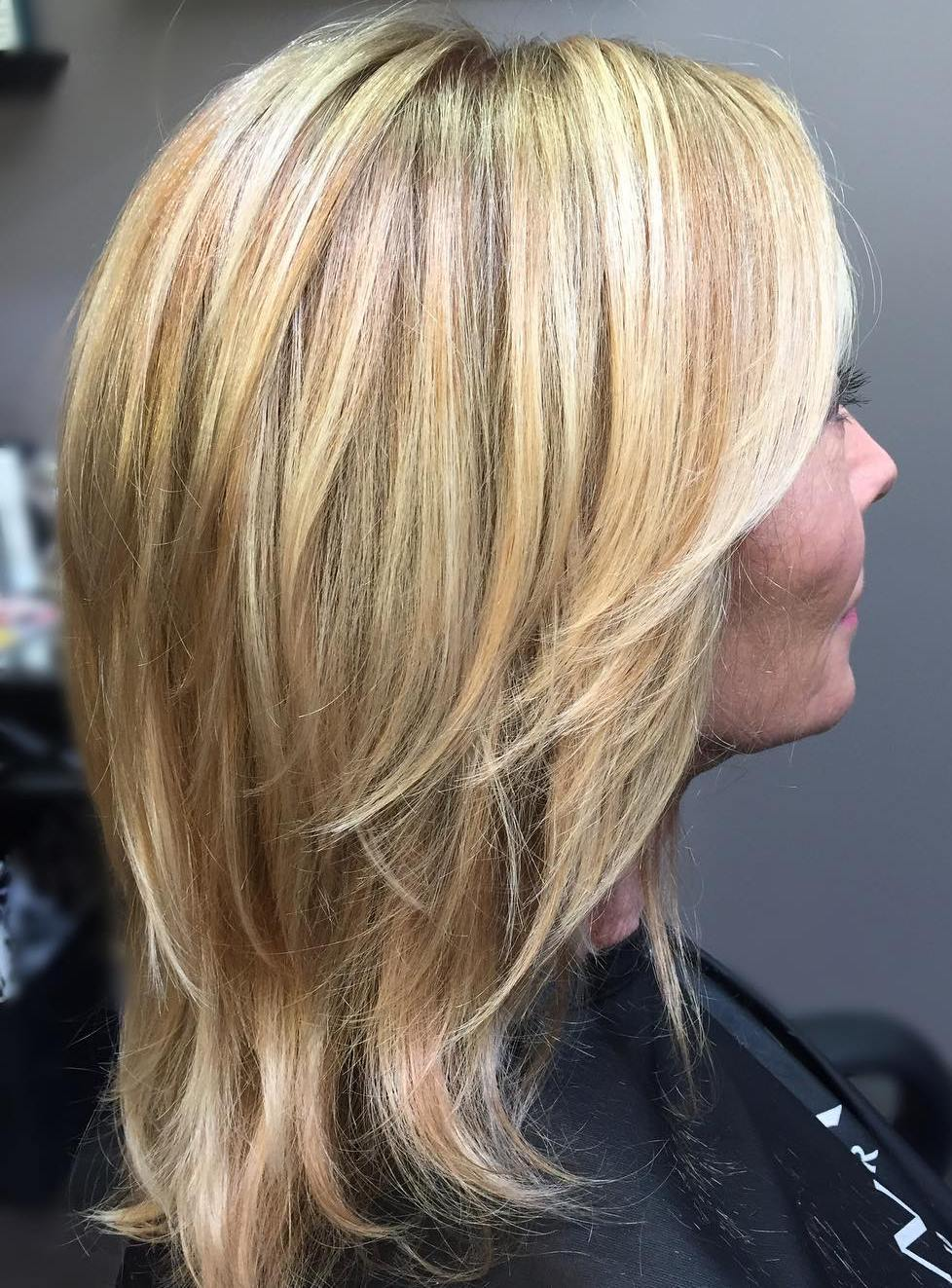Medium Layered Blonde Cut