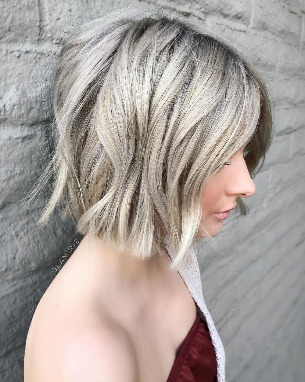 Short Choppy Metallic Blonde Bob