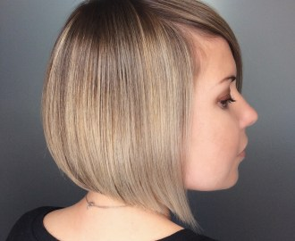 A line Bob for a Round Face and Thin Hair