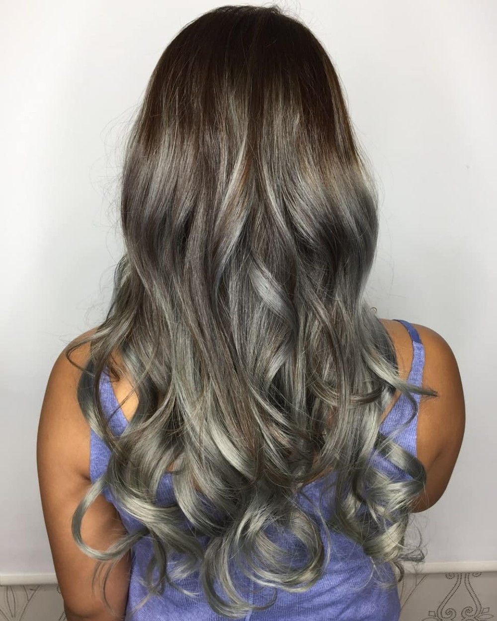 Warm Brown Hair with Silver Highlights