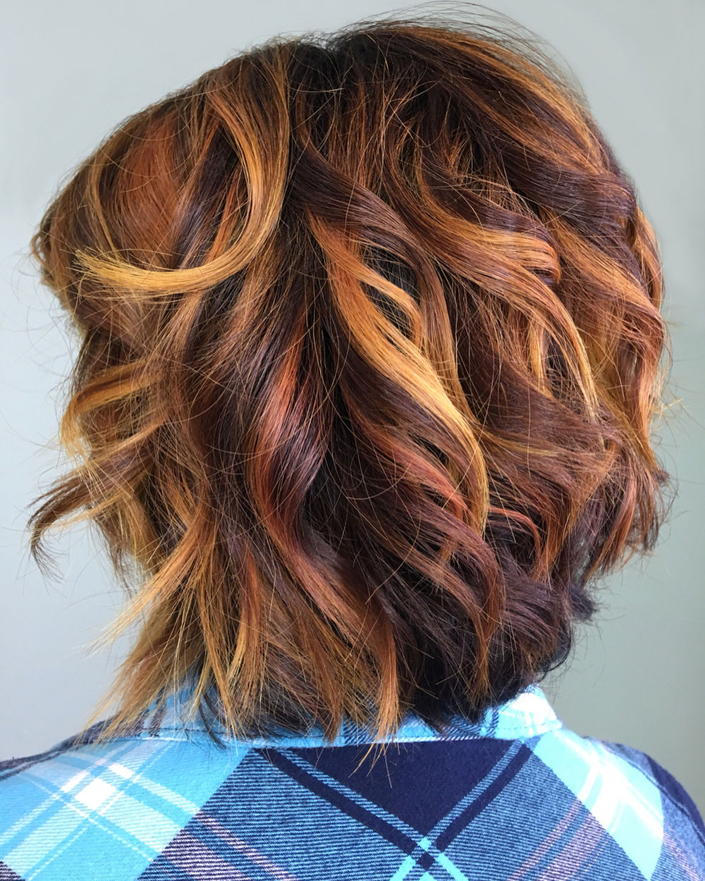 Wavy Blonde, Auburn and Brown Bob