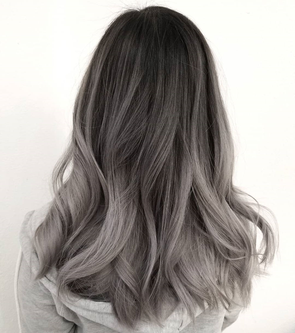Silver Gray Ombre with Curls