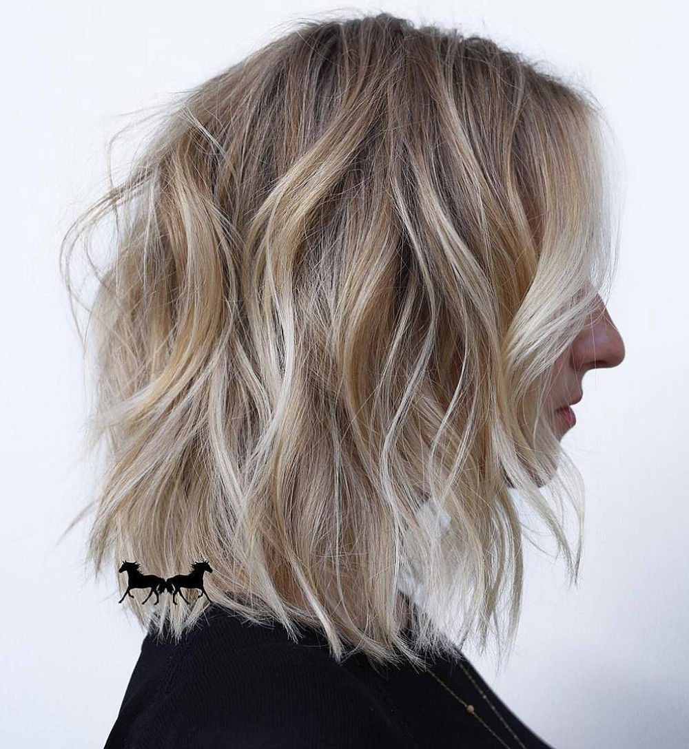 Choppy Wavy Bob with Blonde Highlights