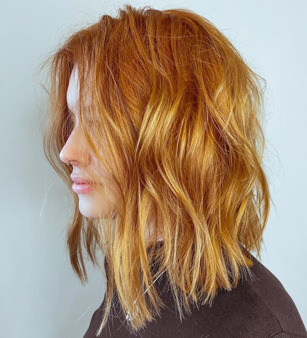 Bold Wavy Bob Haircut for Ginger Hair