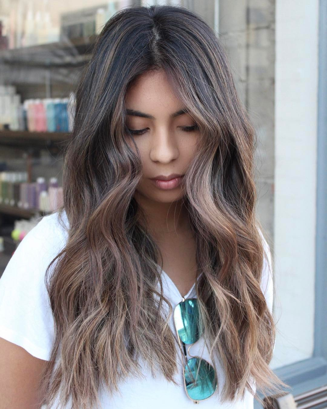 Ash Brown Hair Color with Tan Skin