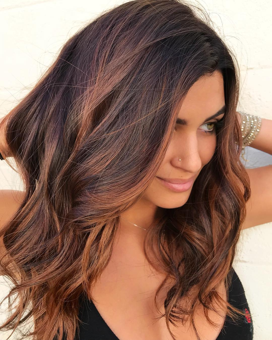 Brown Highlighted Hair Color for Tan Skin