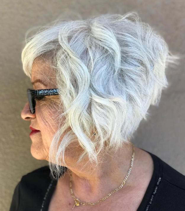 Short Haircut for Women with Gray Hair and Glasses over 60
