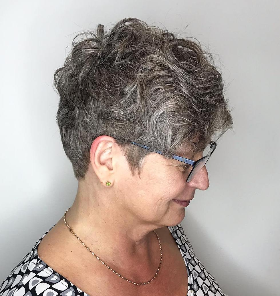 Curly Salt-and Pepper Undercut Hairstyle