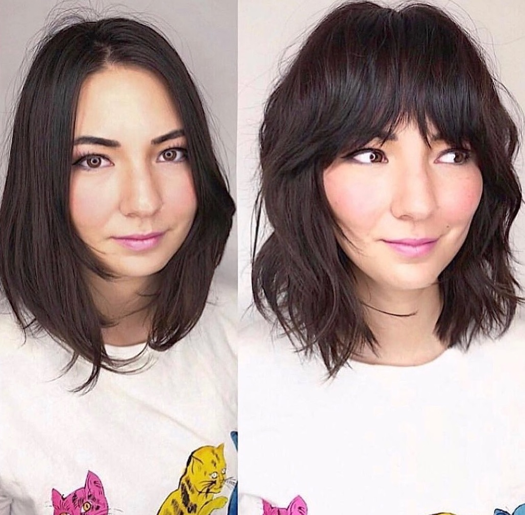 Midi Hairstyle with Bangs for an Oval Face