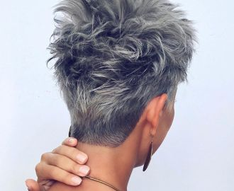 Gray Short Pixie Haircut