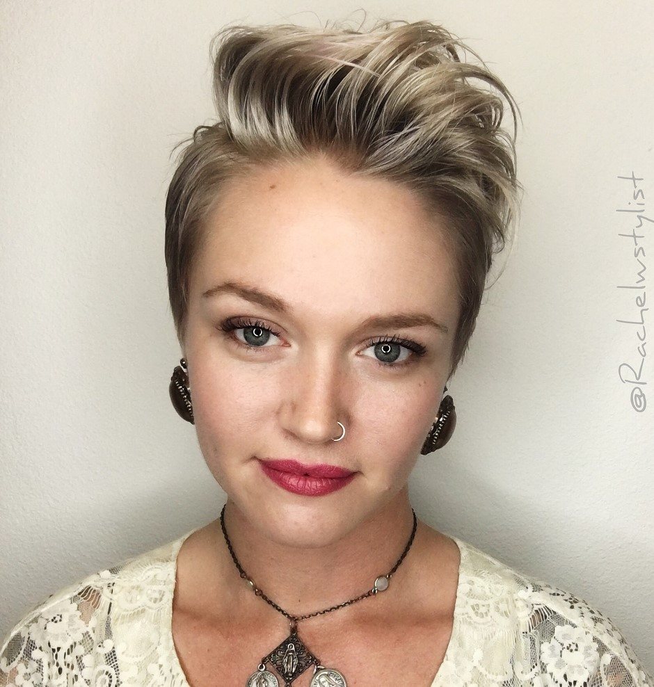 Pixie Hairstyle with Pompadour Bangs
