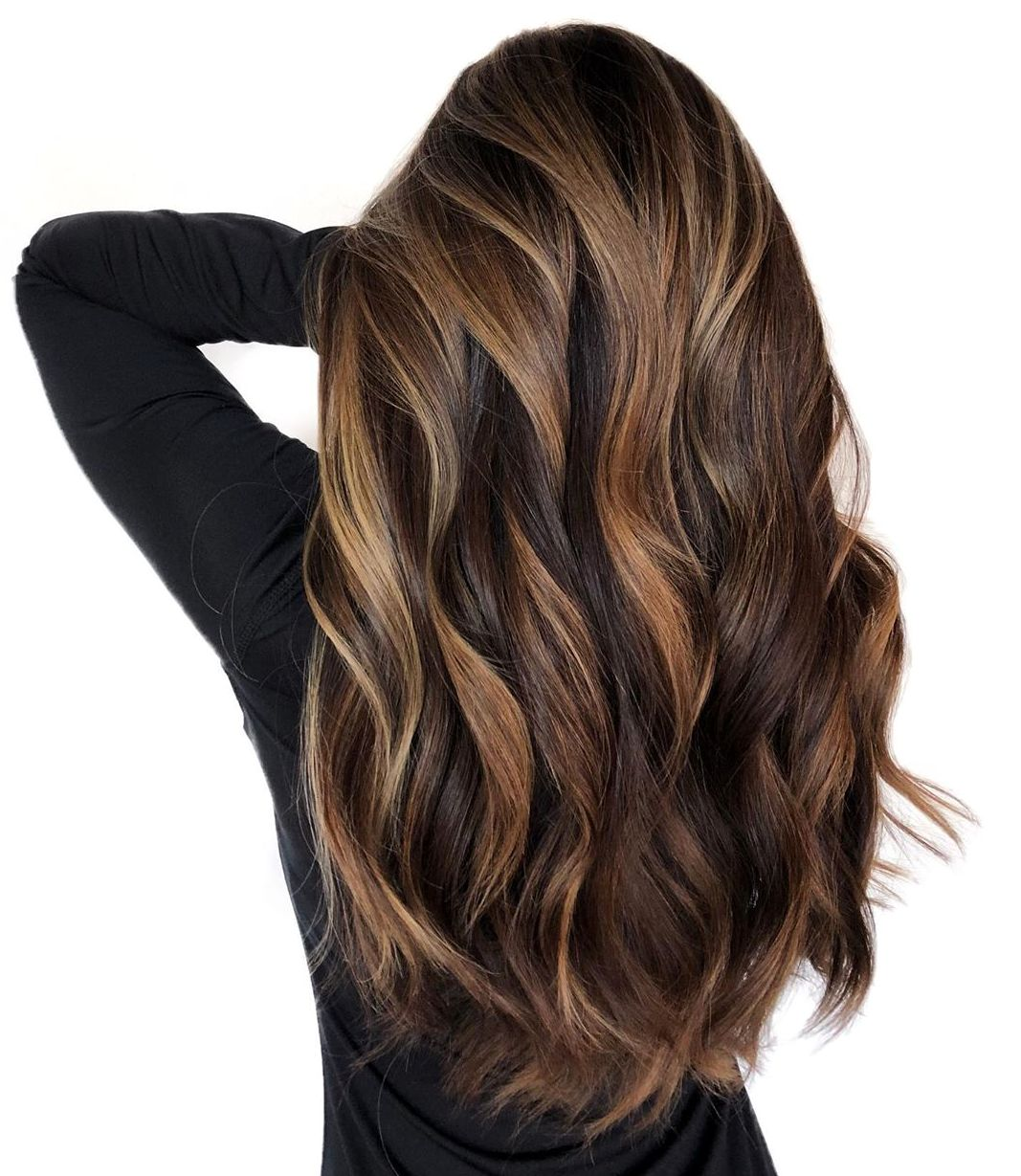 Dark Chocolate Hair with Auburn Highlights