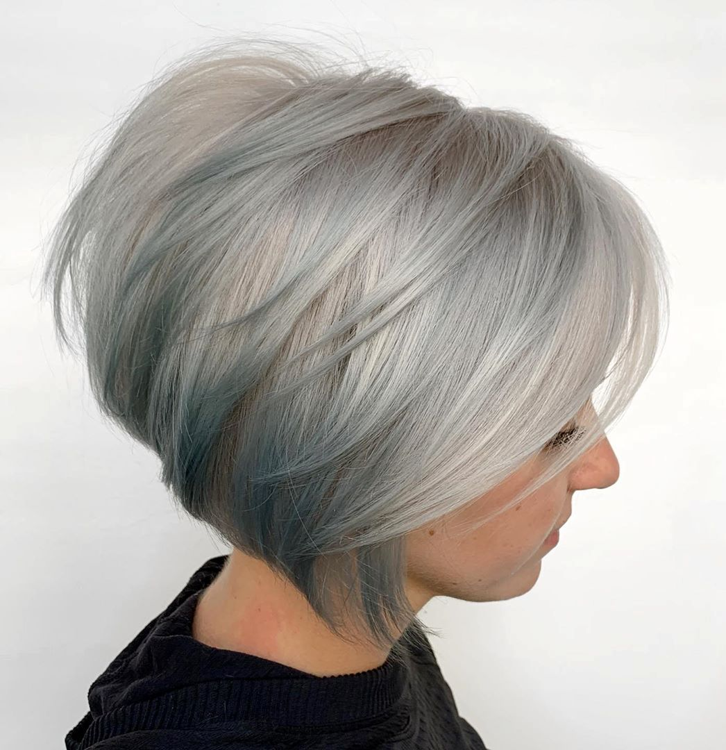 Gray Bob with Short Stacked Layers