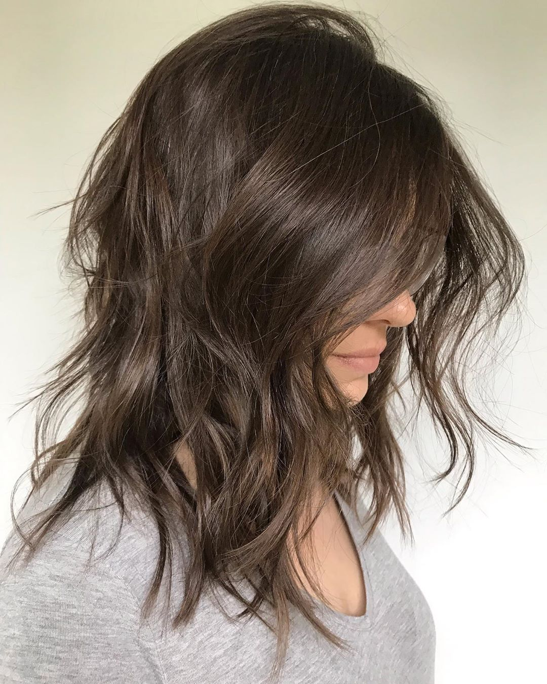 Medium Shaggy Hairstyle with Messy Waves