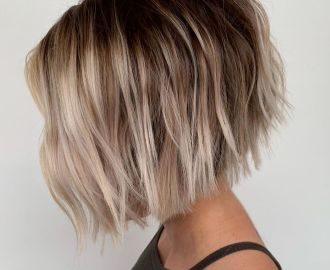 Layered Bob with Beachy Waves