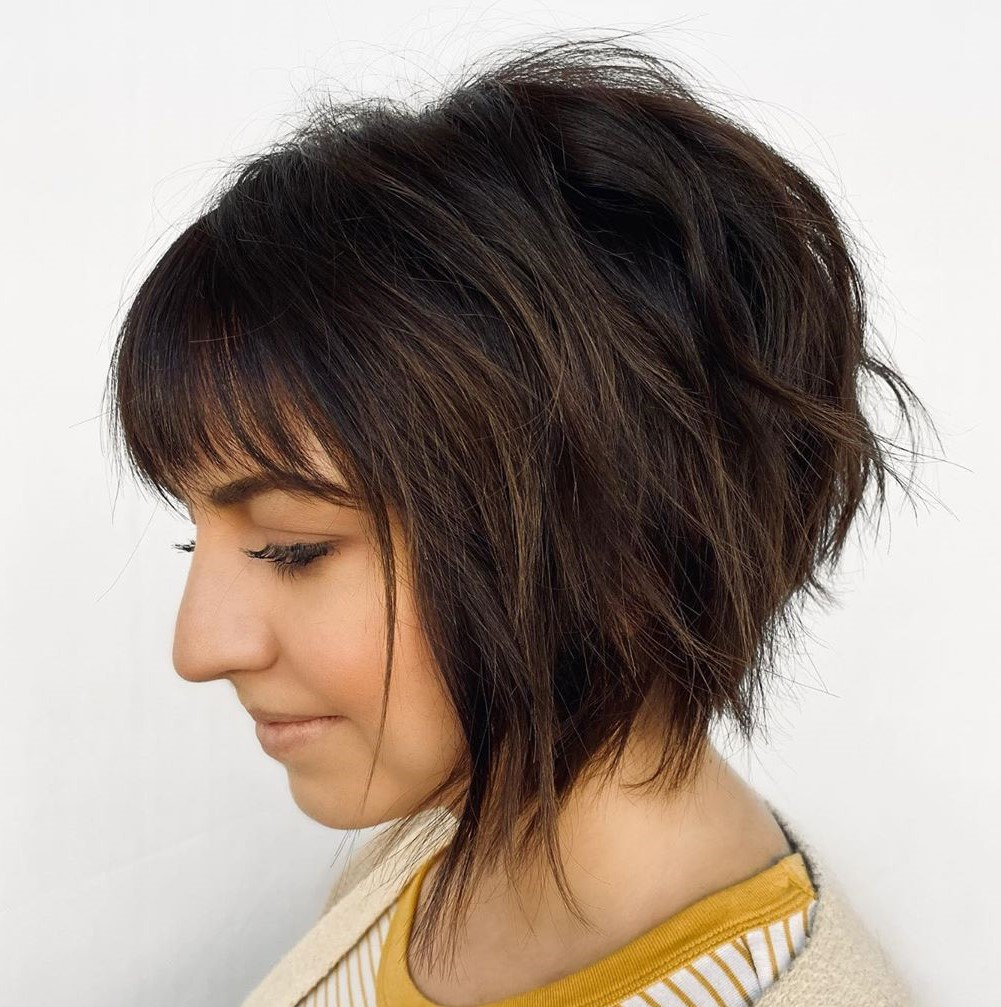 Cute Inverted Chin-Length Haircut with Bangs