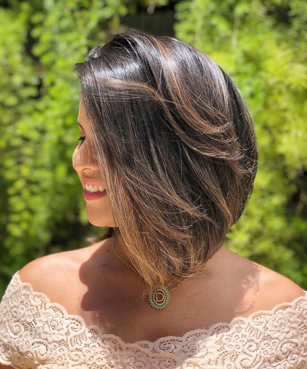Lob Haircut with Layers and Balayage Highlights