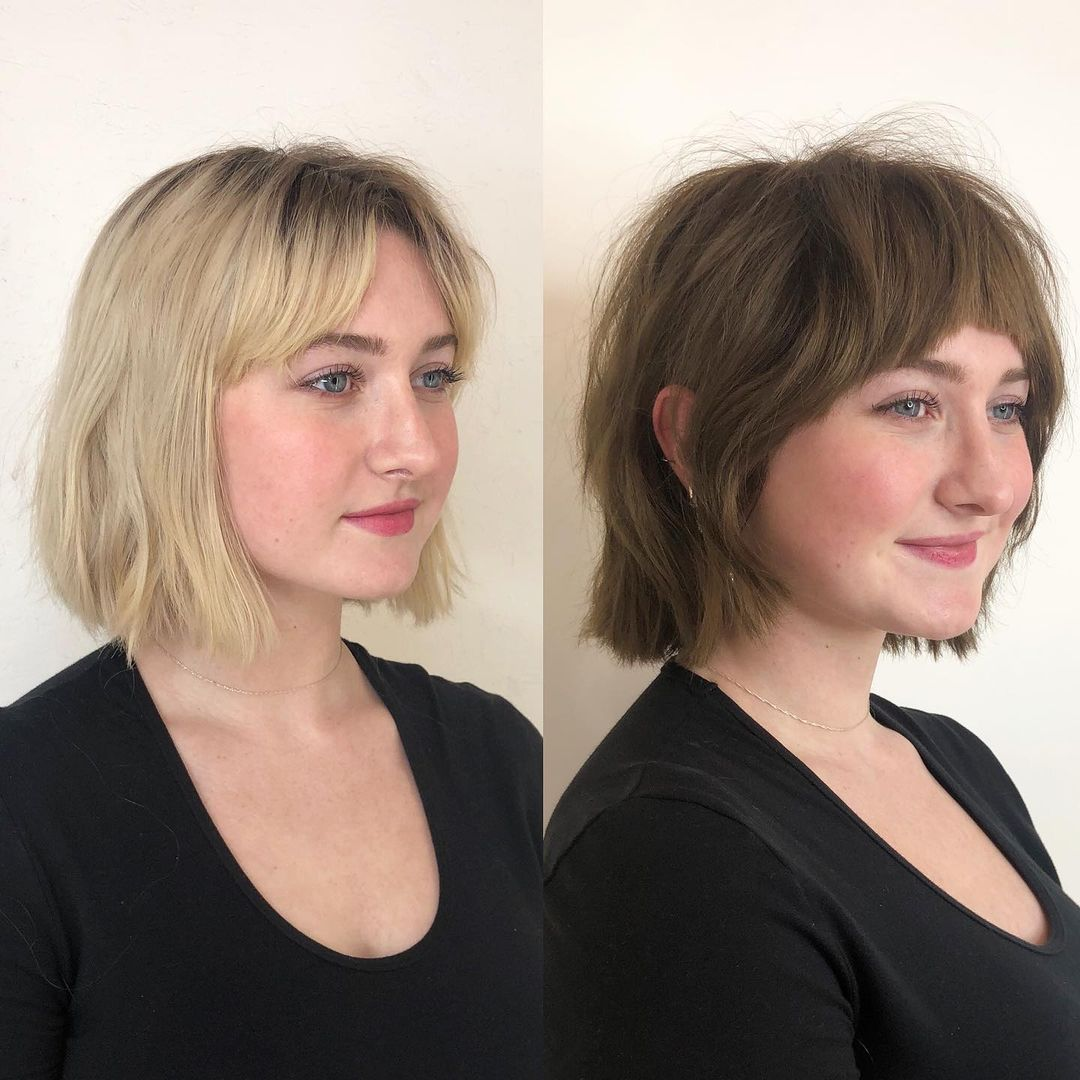 Short Hairstyle with Baby Bangs for Round Faces