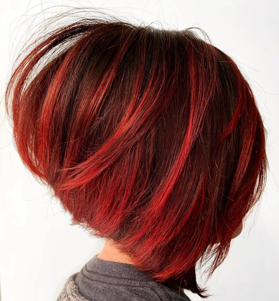 Dark Inverted Bob with Cherry Red Highlights
