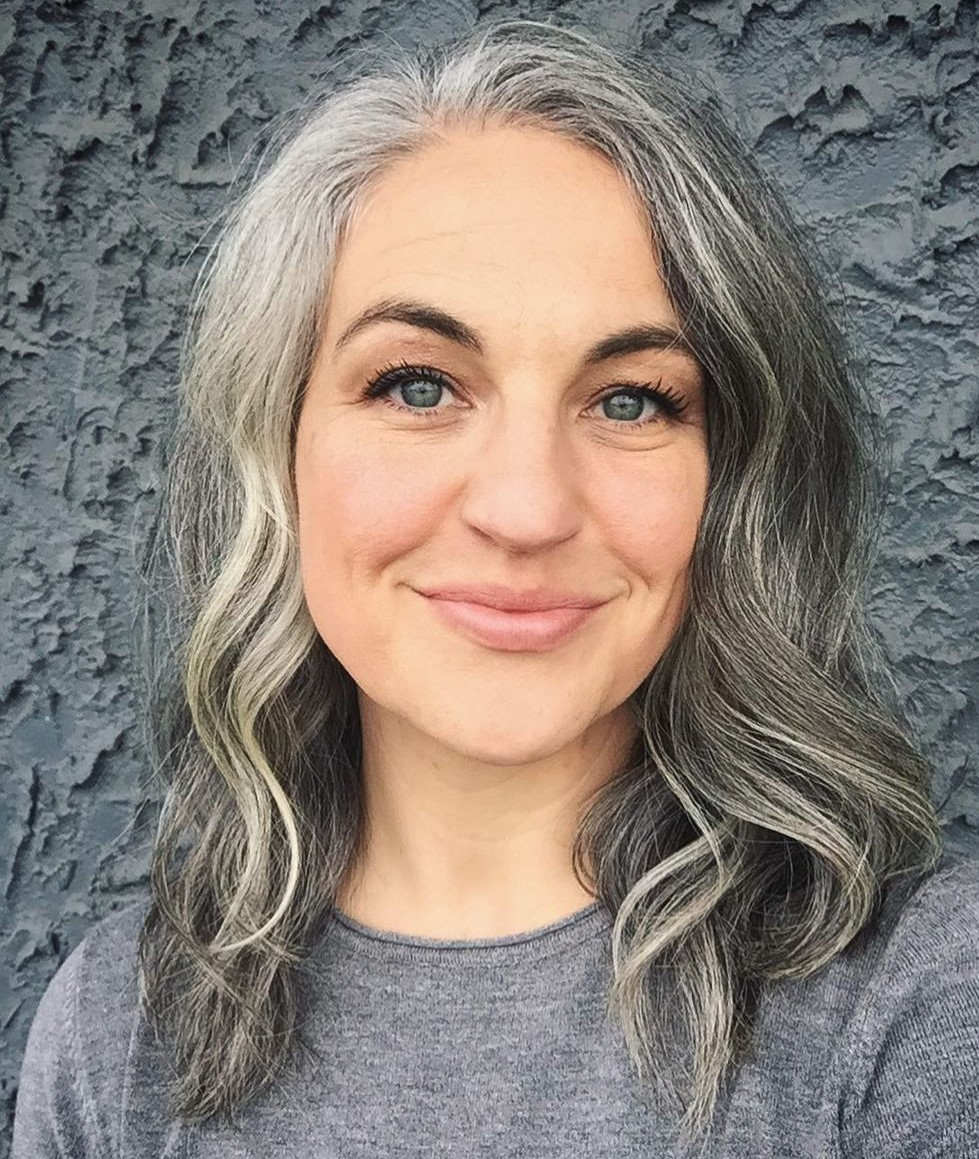 Dark Gray Hair with Highlights