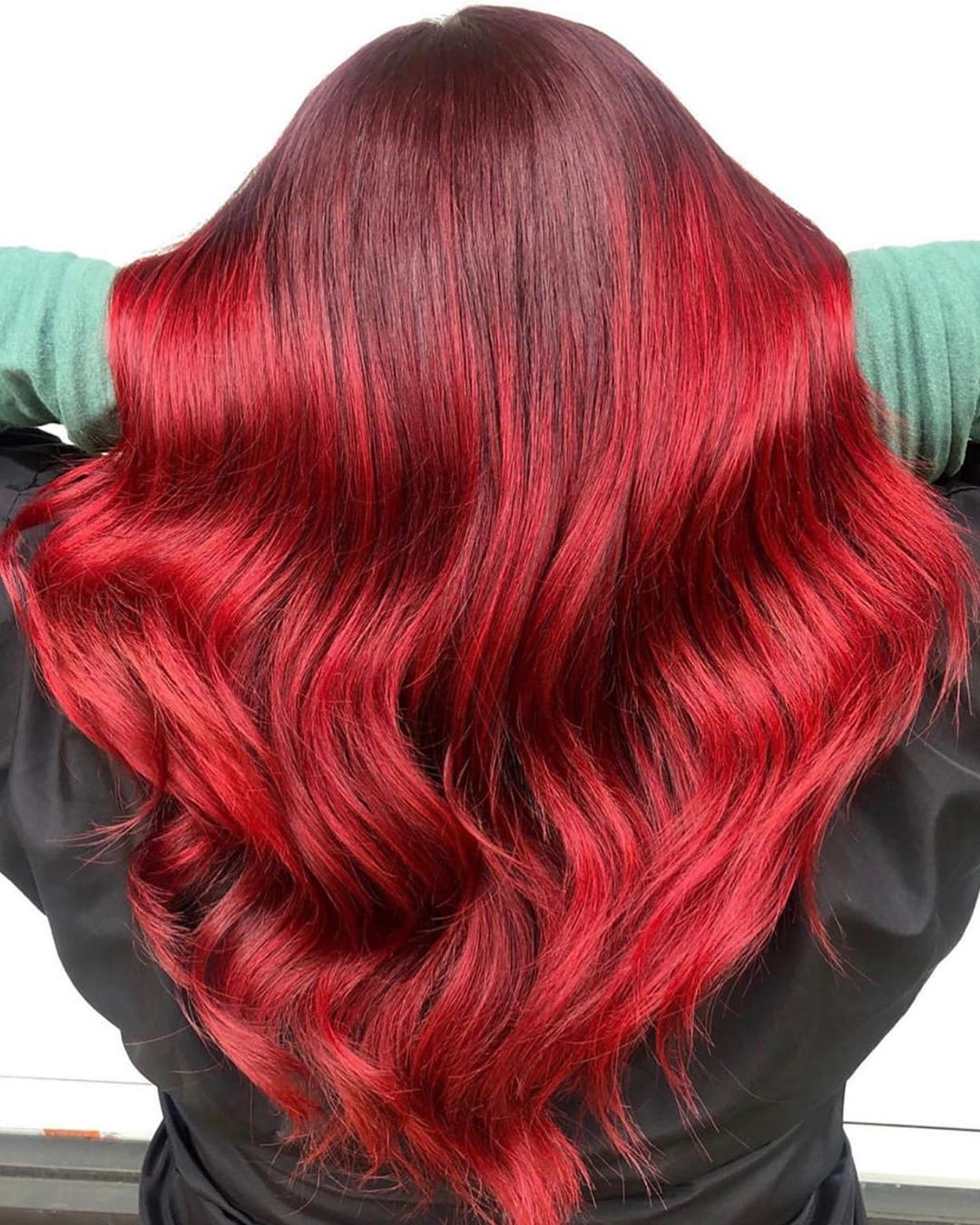 Vibrant Crimson Red Balayage