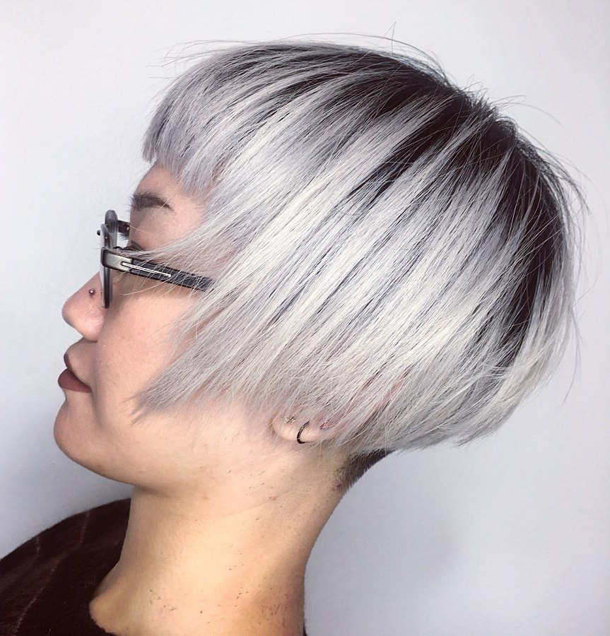 Angled Undercut Bob with Blunt Bangs