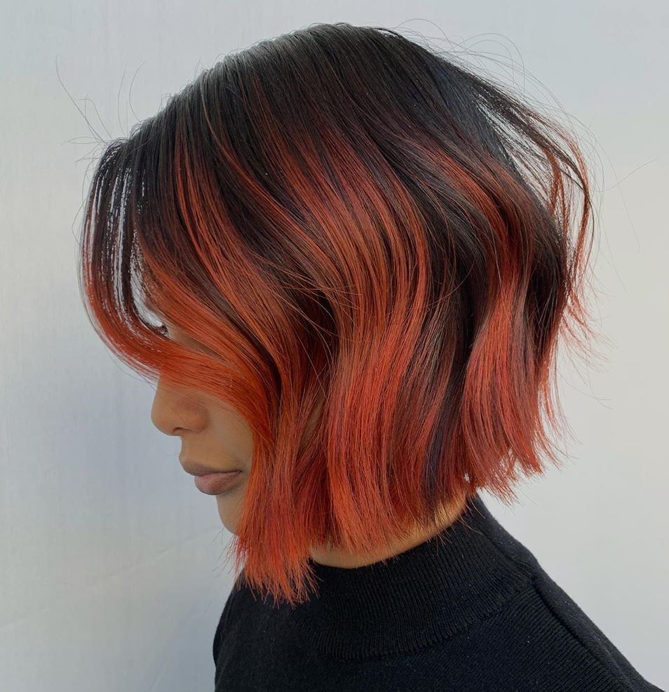 Dark Brown Bob with Coral Highlights