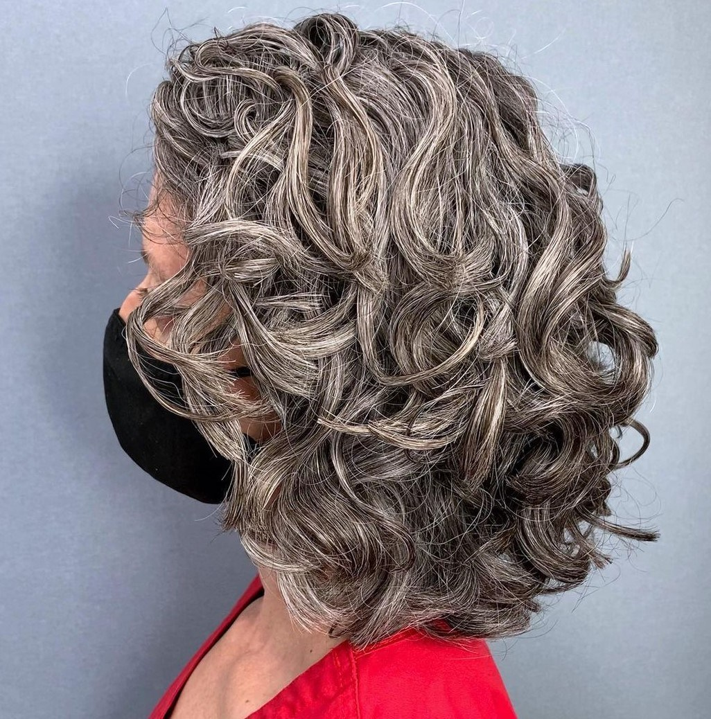 Metallic Gray with Dark Hair
