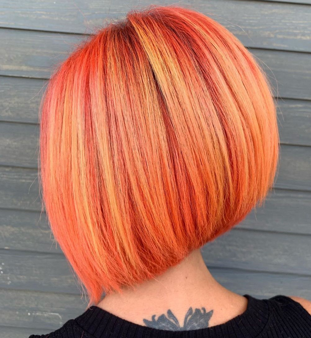 Trendy Pink and Orange Bob