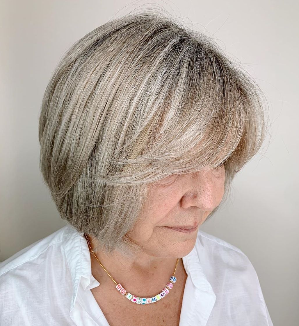 Over 50 Feathered Bob Hairstyle