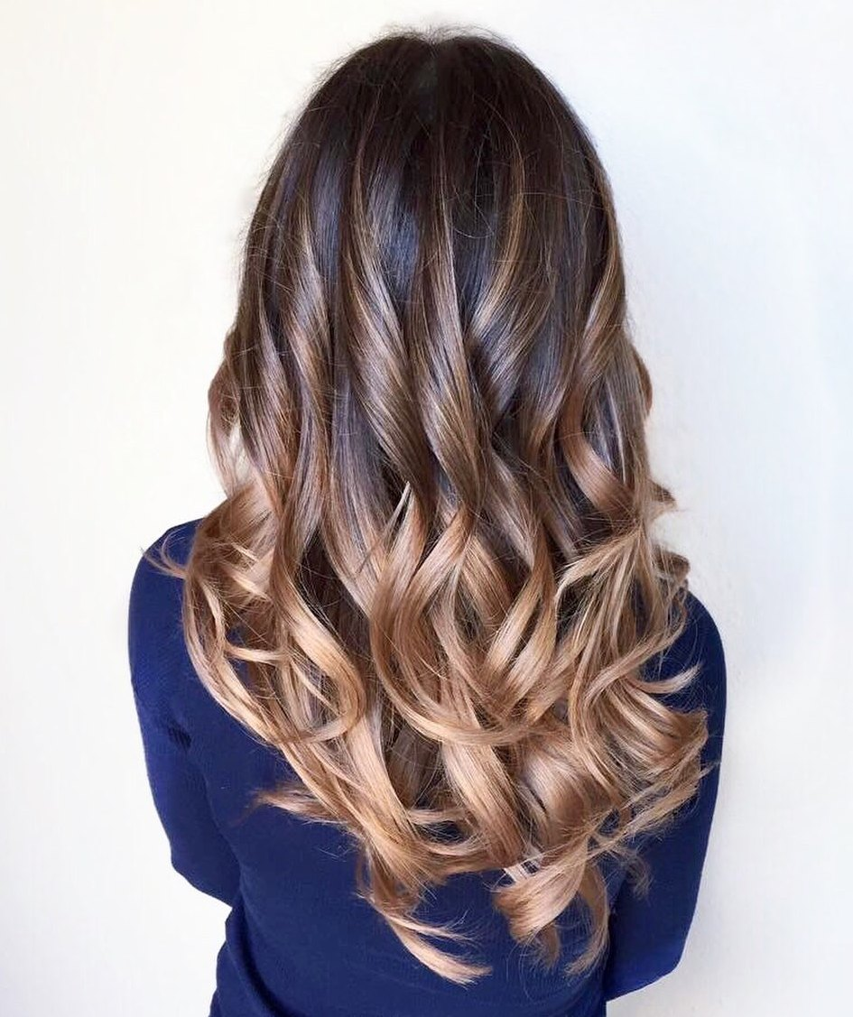 Long Balayage Hair with Ombre Effect