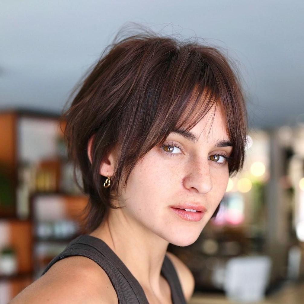 Choppy Brunette Cut for Thin Hair