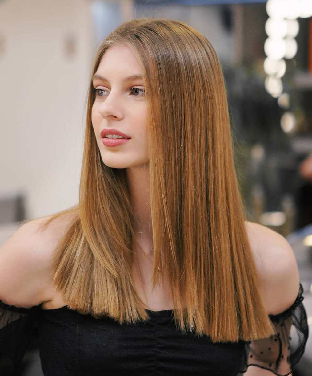 Sleek Blunt Cut on Long Hair