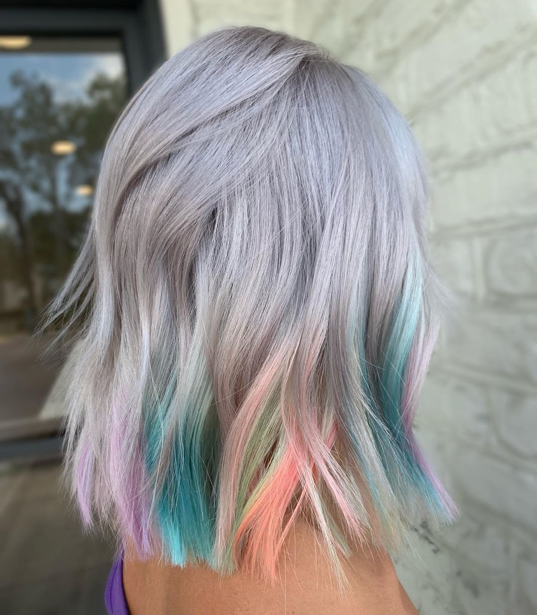 Gray Hair with Rainbow Highlights